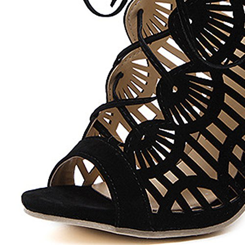 Lace Sandals Toe Women's D2C Gladiator Summer Black Beauty up Stiletto Peep AqzYgaxnwY