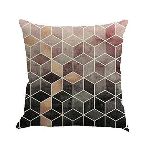 iYBUIA Retro Farmhouse Geometry Painting Linen Cushion Cover Throw Pillow Case Sofa Home Decor ()