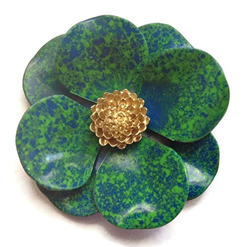 - Enamel Flower Brooch in Blue Green with Goldtone Accent