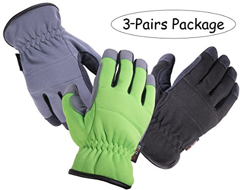 SKYDEER Work gloves - Armprotec Protective Synthetic Leather WorkPRO Garden Work Glove for Daily Use Like Gardening, Automotive Repair Work and More(3-Pairs Value Pack XL)