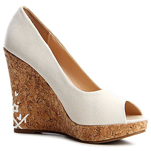 topschuhe24 - Zapatos de vestir de tela para mujer Beige
