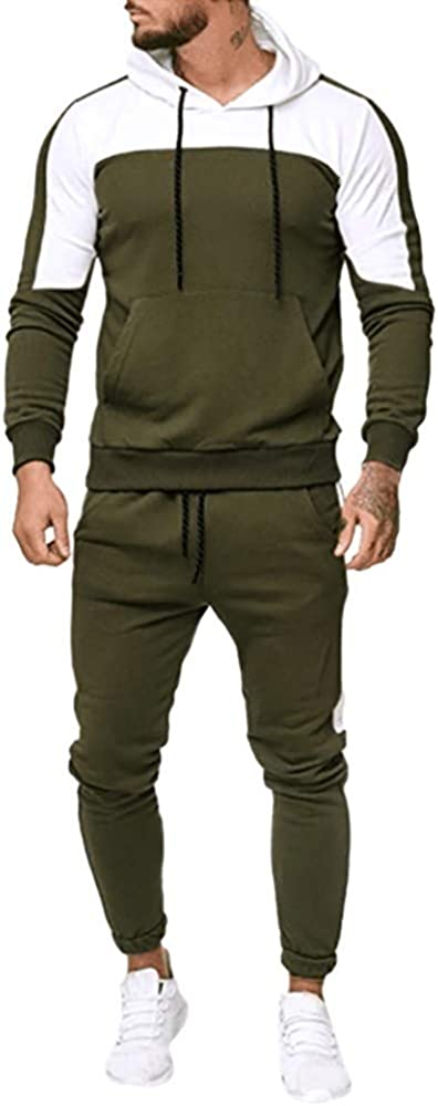 chándal para Hombre, Moda Casual otoño e Invierno Chandal Completo para Hombre Sudadera con Capucha de Manga Larga + Pantalones Deportivos Conjuntos