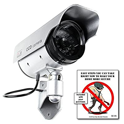 Best Dummy Camera Solar Powered - Blinking Red LED Light - Internal Lithium Rechargeable Battery - Never Buy Batteries Again - Dummy Security Cameras - Fake Outdoor Security Cameras - Home - Business