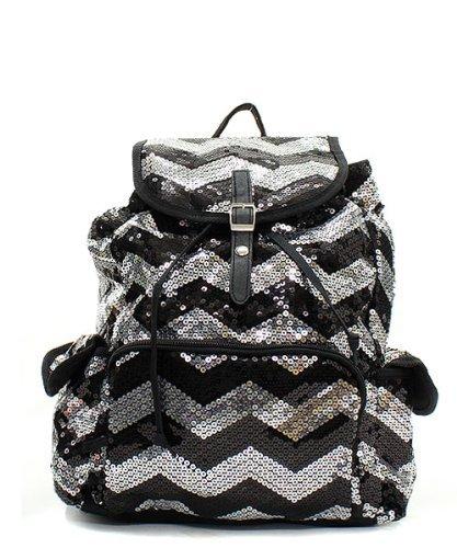Chevron Sequin Backpack Blk (Chevron Sequin Backpack)