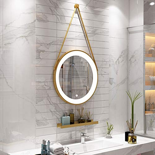 HMDJW Bathroom Mirror LED Touch Wall Hanging Cosmetic Mirror Nordic Bathroom Mirror -