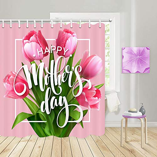 JAWO Mother's Day Shower Curtains for Bathroom, Bunch of Tulip Love Flowers Post Card Poster Design Festival Celebration Bathroom Accessories, Non Fabric No Shower Curtain Liner Needed, 69X70 ()