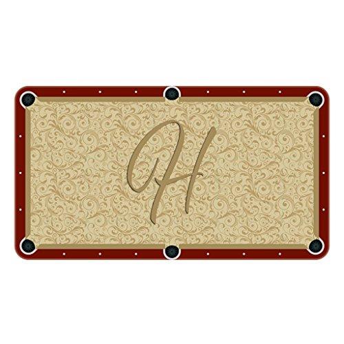 Tan Paisley Monogram Billiard Cloth Pool Table Felt Letter: H