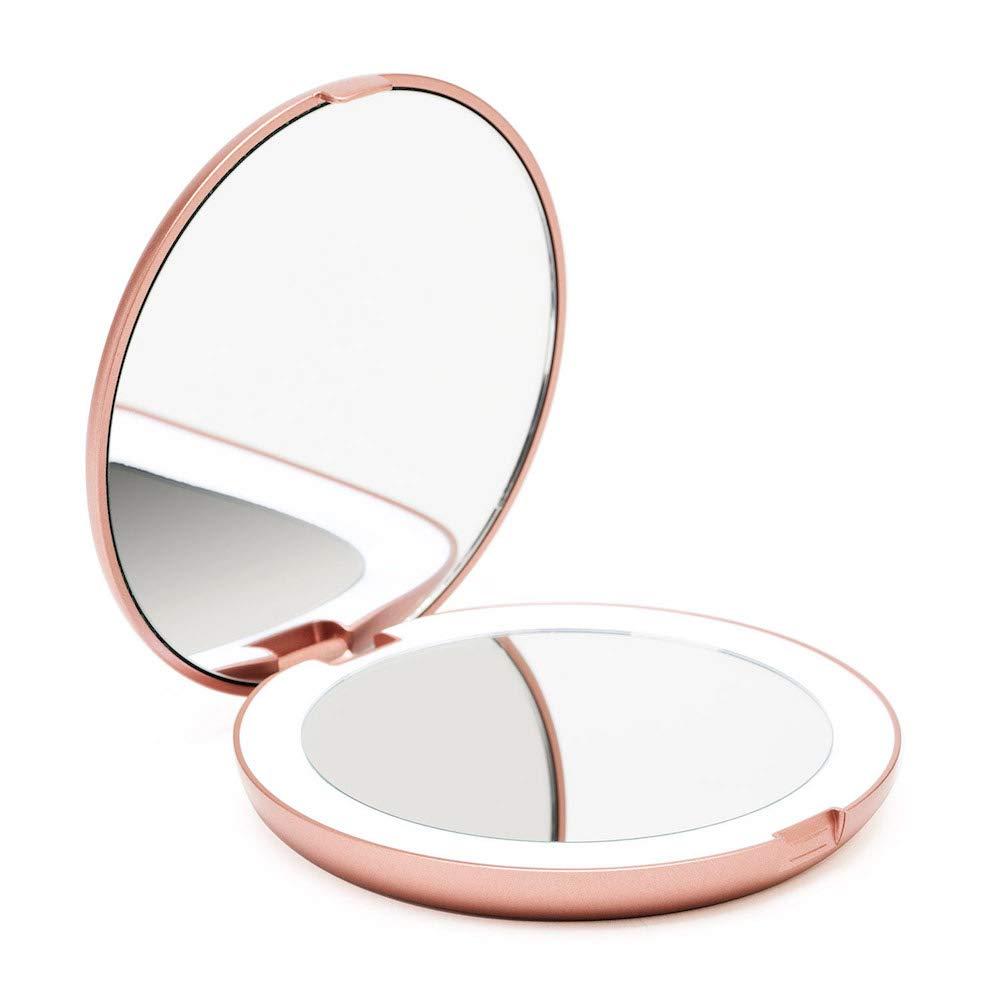 Fancii LED Compact Makeup Mirror for Handbag, 1X/10X Magnifying - Natural Daylight LED, Travel Size, Portable, 5 Inch Wide Illuminated Mirror, Rose Gold (Lumi)