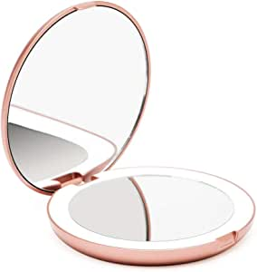 Fancii LED Compact Makeup Mirror for Handbag, 1X/10X Magnifying - Natural Daylight LED, Travel Size, Portable, 127mm Wide Illuminated Mirror (Lumi) (Rose Gold)