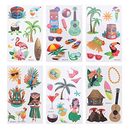 NUOBESTY Summer Holiday Stickers,Waterproof Aesthetic Trendy Summer Stickers Hawaii Temporary Tattoo Sticker Funny Art Tattoos Stickers Body Sticker for Luau Tropical Party Decoration 6 Sheets