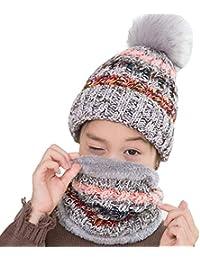 T WILKER 2Pcs Kids Winter Knitted Hats+Scarf Set Warm Fleece Lining Cap for 5-14 Year Old Girls Grey