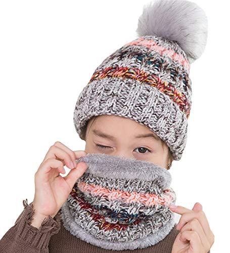 T WILKER 2Pcs Kids Winter Knitted Hats+Scarf Set Warm Fleece Lining Cap for 3-9 Year Old Girls Grey