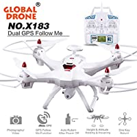 Besde Toy Global Drone X183 Quadcopter With WiFi FPV 1080P Camera GPS Helicopter (A, white)