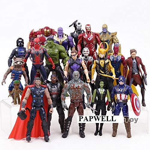 PAPWELL Set 20 Avengers Action Figures 7 inch Hot Toys Marvel Legends Thanos Hulk Iron Man Captain America Hulkbuster Thor Hawkeye Spiderman Antman Wasp Vision Black Panther Falcon Winter Soldier Toy