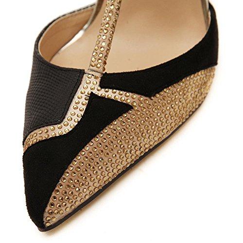 L@YC Tacones altos 10cm De Las Mujeres Señaló La Bola Del Diamante Del Diamante Con Las Sandalias Black