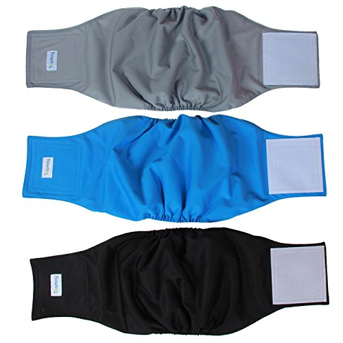 Teamoy Reusable Wrap Diapers for Male Dogs, Washable Puppy Belly Band Pack of 3 (L1, 16''-20''Waist, Black+ Gray+ Lake Blue)