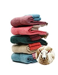 NEW 5 Pairs Women's 80% Sheep Wool Winter Knit Warm Causal Socks High Quality