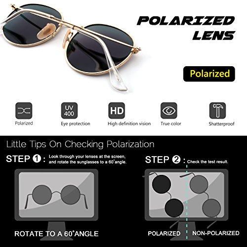 Lennon Or retro rond de du vintage inspirées CGID polarisées lunettes E01 7 style soleil Vert en métallique cercle vnwqA4