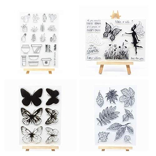 Welcome to Joyful Home 4pcs/Set Butterfly Floral Fairy Rubber Clear Stamp for Card Making Decoration and -