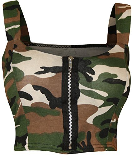 Womens Army Camouflage Print Zip Front Padded Crop Bralet Bra Top (Army Camo Bra)