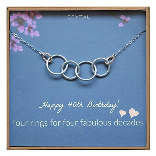 (EFYTAL Happy 40th Birthday Gifts for Women Necklace, Sterling Silver 4 Rings Four Decades Necklaces Gift Ideas)