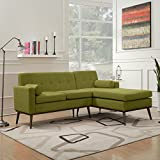 Sophia Mid Century Modern 2 Piece Green Fabric Sectional Sofa and Lounge Set