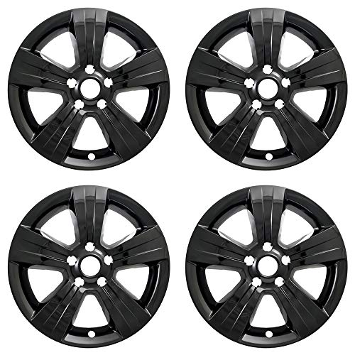 New Wheel Skin Covers Fits 2010-2012 Dodge Caliber 2010-2017 Jeep Compass 2011-2017 Jeep Patriot; Impostor (R); 17 Inch; 5 Spoke; Gloss Black; Plastic; Set of 4; Not Compatible with Steel Wheels (Dodge Rim Covers)