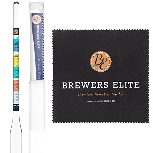 Glass Hydrometer (Brewer's Elite Hydrometer - for Home Brew Beer, Wine, Mead and Kombucha - Deluxe Triple Scale Set, Hardcase and Cloth -- Specific Gravity ABV Tester)