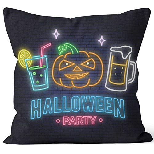 Halloween Party neon Sign Vector Happy Halloween Light Banner with Beer Throw Pillow Cushion Cover,HD Printing Decorative Square Accent Pillow Case,26