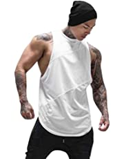 KASAAS Sport T-Shirts for Men Solid Patchwork Tank Tops Sleeveless Crewneck Slim Fit Activewear Pullover Shirt