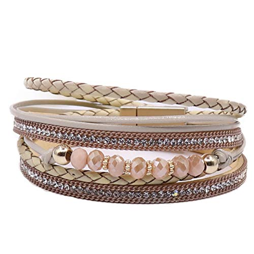 - KSQS Boho Multilayer Leather Wrap Bracelets Gorgeous Handmade Braided Wrap Cuff Magnetic Buckle Casual Bangle for Women&Girl Gift by UEUC