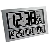 Marathon Watch Company CL030025 Jumbo LCD Atomic Wall Clock, 6 Time Zones (Silver)