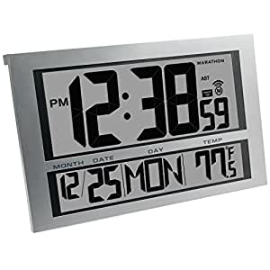 MARATHON CL030025 Commercial Grade Jumbo Atomic Wall Clock with 6 Time Zones, Indoor Temperature & Date - Batteries Included by Marathon