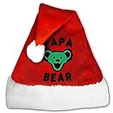Papa Bear Best Dad Ever Grateful Dead Christmas Hat Velvet Santa Claus Hat S Size For Kid,M Size For Adult