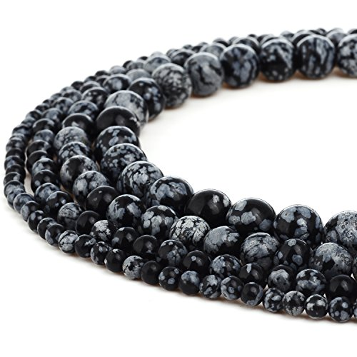 RUBYCA Natural Snowflake Obsidian Gemstone Round Loose Beads for DIY Jewelry Making 1 Strand - 8mm