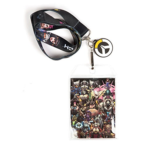 (JINX Overwatch Super Team Lanyard with ID Holder & Logo Rubber Charm)