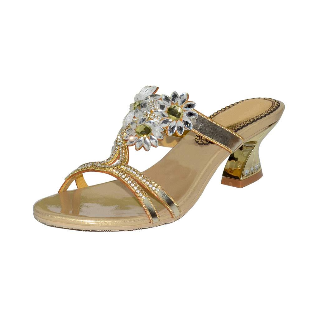 gold Women's Hollow High Heel Sandals Crystal Flower Diamond High Heel Slippers Summer Beach Leisure Slippers