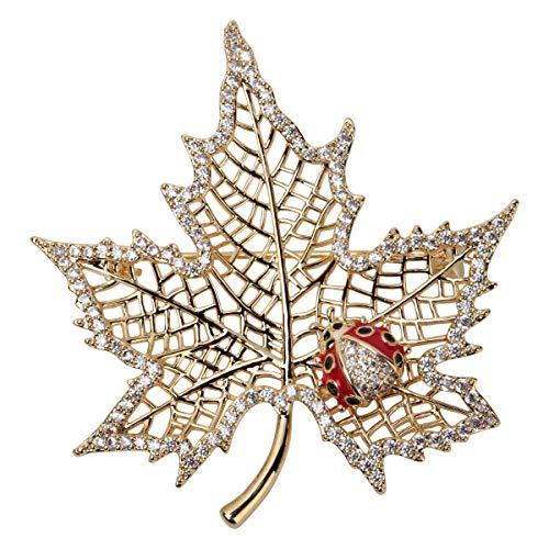 Hiddeston Valentines Silver Cubic-Zirconia CZ Leaf Maple Ladybug Jewelry Brooch Pin for Her Women (Pendant Leaf Maple)