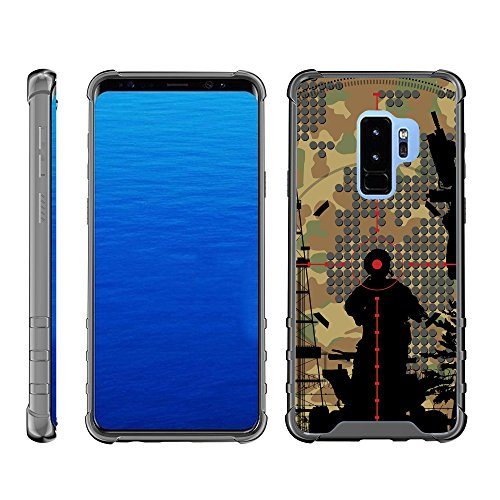 TurtleArmor | Compatible for Samsung Galaxy S9+ Case | S9 Plus Case | G965 [Flexible Armor] Clear Shock Bumper Fitted Hard Cover TPU Case with Smoke Edges War and Military - Bullseye Scope ()