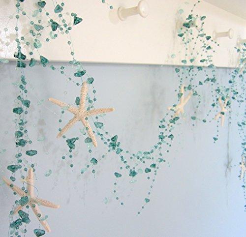 Beach-Decor-Nautical-Beaded-Starfish-Garland-White-Starfish-Decorative-Garland-5FT-BSFG-TEAL