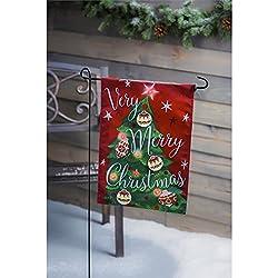 Evergreen Merry Christmas LED Applique Garden Flag