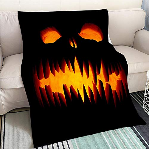 BEICICI Comforter Multicolor Bed or Couch Scary Halloween Pumpkins Hypoallergenic - Plush Microfiber Fill - Machine Washable]()