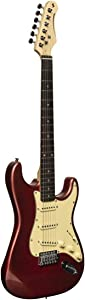 Stagg 6 String Solid-Body Electric Guitar, Right, Candy Apple Red, Full (SES-30 CAR)