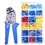 Crimping Plier Set,360Pcs Insulated Assortment Spade Ring Electrical Wire Terminals Crimp Connectors Kit with Multi-Plier Crimping Tool