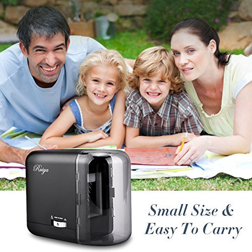 Electric Pencil Sharpener, Auto-Stop Feature and Best Heavy Duty Helical Blade Sharpeners for Office School Classroom Kids Artists, AC adapter or Battery Operated for No.2 and Colored Pencils. (Black) by RUIYA (Image #5)