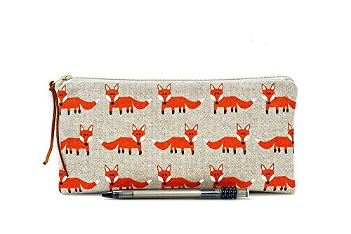 Fox pencil case, Kids pouch, School supplies, Woodland, Make Up bag, Cosmetic case, Animal pouch, Small zipper pouch, Pen bag, Teacher gift by The Dutch Loft