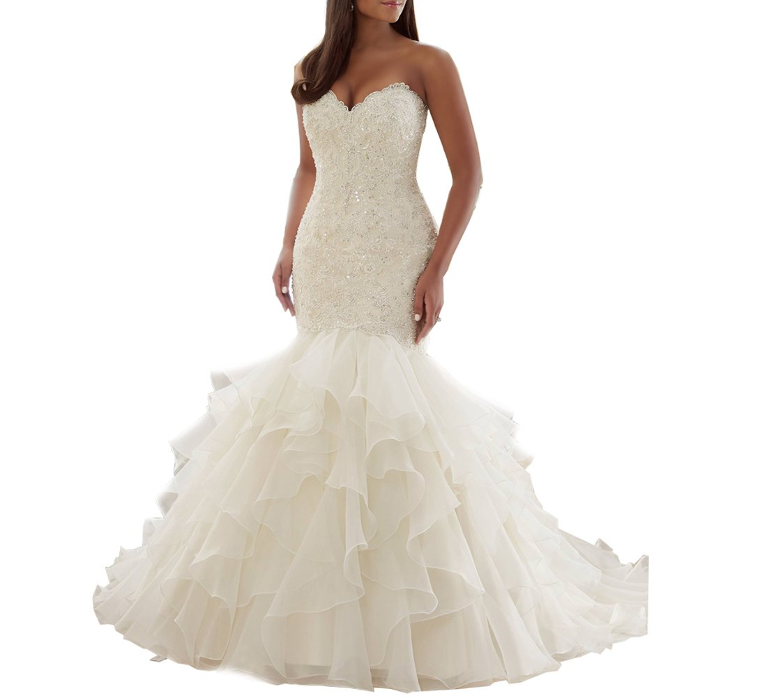 Beauty Bridal Sweetheart Mermaid Bridal Gown Plus Size Wedding Dresses for Bride (16,White)
