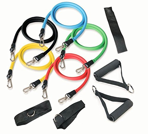 Premium Resistance Bands Set 10 Piece Exercise Bands for Home Workout, Kickboxing, Yoga, MMA, Strength, Core, Cardio Training, and Physical Therapy (Dvds All Boxing Cardio Kick)