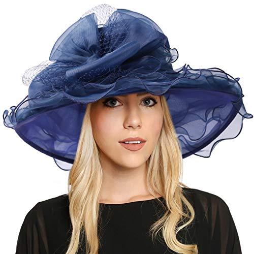 FORBUSITE Women Kentucky Derby Church Dress Organza Hat Wide Brim Flat Hat S601 (S601-Navy Blue) ()