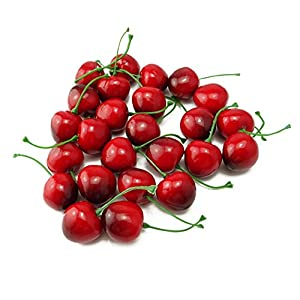 yueton Pack of 25 Artificial Lifelike Simulation Small Red Black Cherries Fake Fruit Model Home House Kitchen Party Decoration Desk Ornament 113